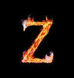 Fiery magic font - Z. Z- Capital letter made of fire and magic sparkles Stock Image
