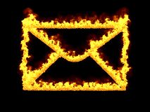 Fiery mail icon. 3d render. Digital illustration. Fiery mail icon on black background. 3d rendering. Graphic illustration Royalty Free Stock Photos