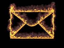 Fiery mail icon with smoke. 3d render. Digital illustration. Fiery mail icon with smoke on black background. 3d rendering. Graphic illustration Stock Photography