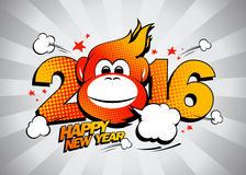 Fiery monkey against gray rays backdrop, 2016 Happy new year design. Fiery monkey against gray rays backdrop, comic style 2016 Happy new year design Stock Photography