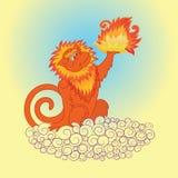 Fiery monkey 2. Vector illustration of the fiery monkey Stock Image
