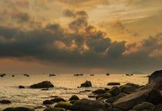 Fiery Morning Skyline Vietnan Stock Image