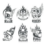 Fiery Motorcycle Skull Helmet Logotypes. For clubs and communities design in vintage style isolated vector illustration Royalty Free Stock Images