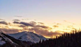 Fiery mountain sunset stock photos