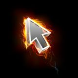 Fiery Mouse Pointer Arrow. Illustration of mouse pointer arrow in fire blaze Royalty Free Stock Photography