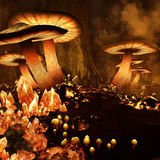 Fiery mushroom forest Royalty Free Stock Photo