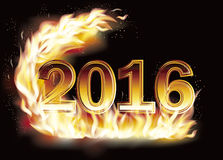 Fiery New 2016 Year  background. Vector illustration Stock Photo