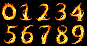 Fiery number zero. On black background Stock Photography