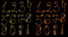 Fiery numbers. Fiery set of numbers from 1 to 0 and questionary and exclamatory signs Stock Image