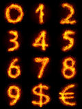 Fiery Numbers Set. Bright flamy font symbol. For writing words use Screen blending mode Royalty Free Stock Photos