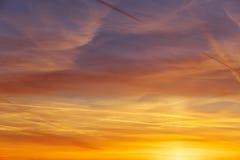 Fiery orange colorful sunset sky Stock Photo