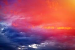 Fiery orange colorful sunset sky. Stock Photo