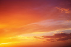 Fiery orange colorful sunset sky. Beautiful sky Royalty Free Stock Images