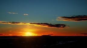 Fiery orange sunset sky beautiful over sky in a beautiful sunset stock photos