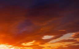 Fiery, orange and red colors sunset sky. Royalty Free Stock Photos