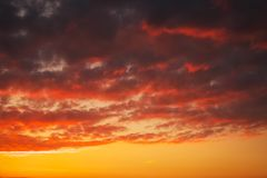 Fiery, orange and red colors sunset sky. Beautiful background Royalty Free Stock Photography