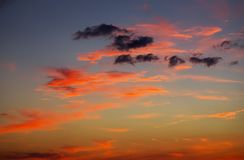 Fiery, orange and red colors sunset sky. Beautiful background Royalty Free Stock Photo