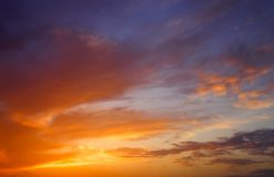 Fiery, orange and red colors sunset sky. Stock Photos