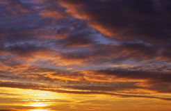 Fiery orange and red sunset sky. Stock Photography