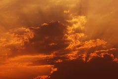 Fiery orange sunset sky Royalty Free Stock Images