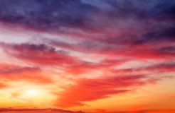 Fiery orange sunset sky. Royalty Free Stock Images