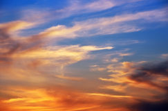 Fiery orange sunset sky. Royalty Free Stock Photography