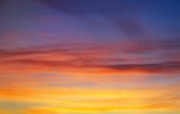 Fiery orange sunset sky. Stock Photo
