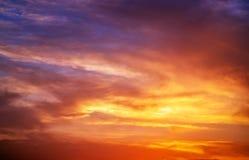Fiery orange sunset sky. Royalty Free Stock Photography