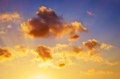 Fiery orange sunset sky. Royalty Free Stock Photo