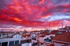 Fiery orange sunset sky. Beautiful sky above the city. Fiery orange sunset sky. Beautiful sky above the city Stock Images
