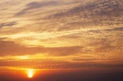 Fiery orange sunset sky. Stock Images