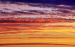 Fiery orange sunset sky. Royalty Free Stock Photos