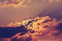 Fiery orange sunset sky. Stock Photos