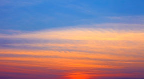 Fiery orange sunset sky. Beautiful sky. Royalty Free Stock Photography