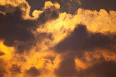 Fiery orange sunset sky Dramatic golden sky Royalty Free Stock Photography