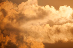 Fiery orange sunset sky Dramatic golden sky Stock Photography