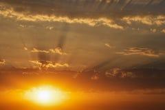 Fiery orange sunset sky. Beautiful Background Royalty Free Stock Photo