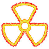 Fiery Outlined Radioactive Sign. Isolated in white Royalty Free Stock Photo