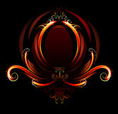 Fiery oval banner. Oval banner of red flames, decorated with fiery patterns on a black background Stock Image