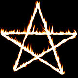 Fiery pentagram. On a solid black background Stock Photos