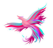 Fiery phoenix in bright colors. Mystic phoenix in pink. Vector illustration of colored shapes Stock Images