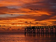 Fiery Pier Stock Photography