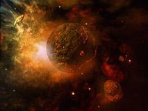 Fiery planet and asteroid. Outerspace scene with planet and asteroid Royalty Free Stock Images