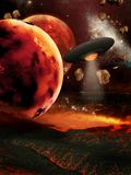 Fiery planets. Futuristic scenery with fiery planets and spaceships Royalty Free Stock Photo