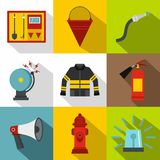 Fiery profession icons set, flat style Stock Photography