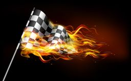Fiery Race Flag. Illustration of fire flame in race flag Royalty Free Stock Images