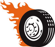 Fiery Racing Tire. An icon of a flaming racing tire Stock Photo