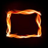 Fiery rectangle of flames on dark background. Place for your message. Vector illustration Royalty Free Stock Images