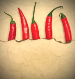Fiery red chili peppers Stock Photo
