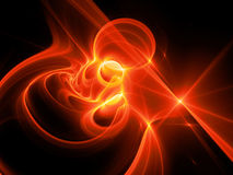 Fiery red glowing high power plasma curves in space. Computer generated abstract background, 3D rendering Royalty Free Stock Images